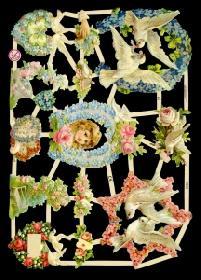 Glanzbilder Tauben mit Blumen,Jugendtr.