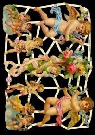 Glanzbilder Engel mit Blumen,Jugendtr.