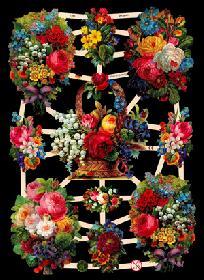 Glanzbilder bunter Blumenbogen