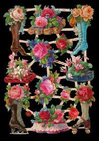 Glanzbilder Blumenstiefel