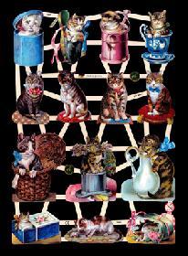 Glanzbilder mit Glimmer Katzen,Jugendtraum
