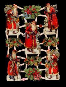 Glanzbilder Weihnachtsmänner mit Ilex