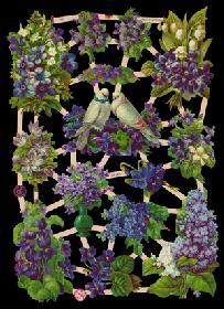 Glanzbilder mit Glimmer 2 Tauben mit Blumen