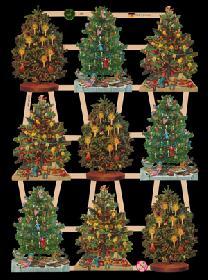 Glanzbilder - 8 Tannenbäume