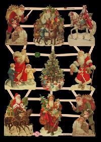 Glanzbilder mit Glimmer Weihnachtsmänner Glitter - silber