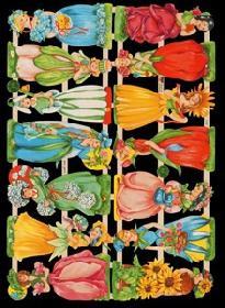 Glanzbilder mit Glimmer Blumenkinder Glitter - silber