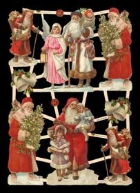 Glanzbilder mit Glimmer Weihnachtsmänner