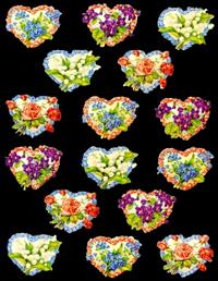 Ganzbilder - lose 16 Herzen mit Blumen