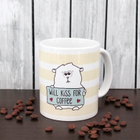 taza de la porcelana will kiss for coffee
