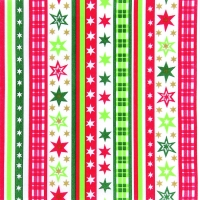Dinner Servietten Stripes & Stars red/green