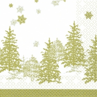 Serviettes cocktail  Tree and Snowflakes gold