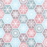 Serviettes de table 25x25 cm - Peigne à flocons de neige pastel