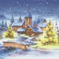 Servilletas 33x33 cm - aldea de Navidad