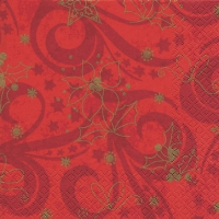 Serviettes de table 33x33 cm - Rouge classique de Noël
