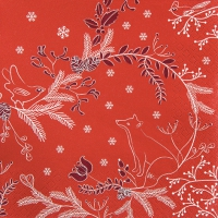 Napkins 33x33 cm - Winter Woods red