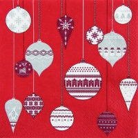 Lunch Servietten Patterned Ornaments red