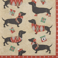 Serviettes lunch Winter Dachshund