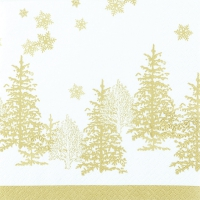 Lunch napkins Tree and Snowflakes gold