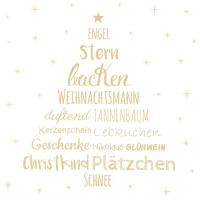 Serviettes de table 33x33 cm - Weihnachtszeit or
