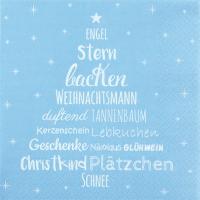 Serviettes de table 33x33 cm - Weihnachtszeit pastell blau