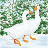 Serviettes lunch Geese Couple