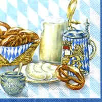 Cocktail napkins BAYRISCHE BROTZEIT blue