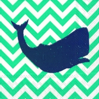 Cocktail napkins YACHT CLUB WHALE turquoise