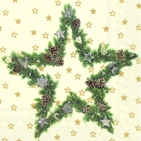Cocktail napkins FIR TREE STAR cream