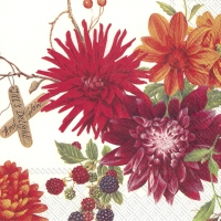 Cocktail napkins DAHLIA GARDEN cream