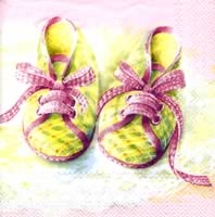 Serviettes cocktail  BABY SHOES rose