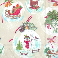 Cocktail napkins WINTERLY CHRISTMAS TIME cream