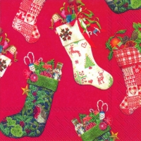 Cocktail Servietten CHRISTMAS STOCKINGS red