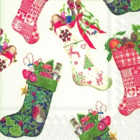 Cocktail Servietten CHRISTMAS STOCKINGS white