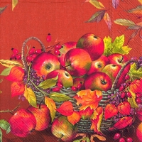 Cocktail napkins BASKET OF APPLES terracotta