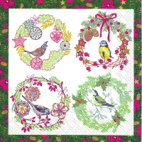 Cocktail napkins BIRDS AND WREATHS green