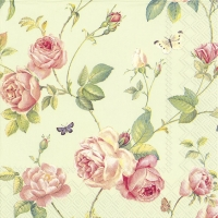 Cocktail napkins NEW RAMBLING ROSE green
