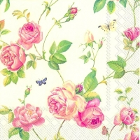 Cocktail napkins NEW RAMBLING ROSE cream