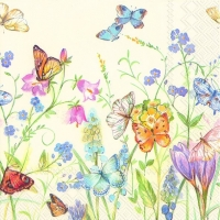 Napkins 25x25 cm - BUTTERFLIES AND BLOSSOMS white