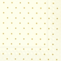 Napkins 25x25 cm - FINE DOTS cream gold