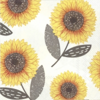 Cocktail napkins URBAN SUNFLOWER grey
