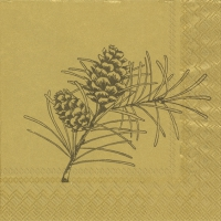 Cocktail napkins PINE BRANCHES gold