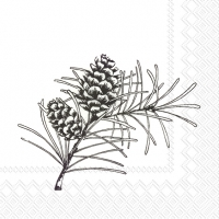 Cocktail napkins PINE BRANCHES white black