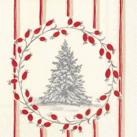 Serviettes cocktail  SNOWY TREE red