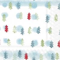 Serviettes de table 25x25 cm - ARBRES HIVER bleu clair
