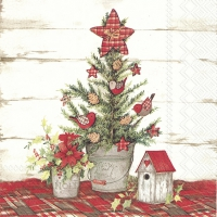 Cocktail napkins COTTAGE CHRISTMAS TREE