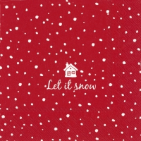 Cocktail napkins LET IT SNOW red