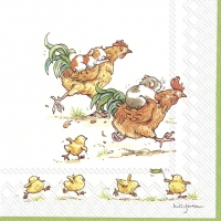 Napkins 25x25 cm - RUN ROOSTER RUN white