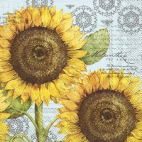 Cocktail napkins BOTANICAL SUNFLOWER light blue