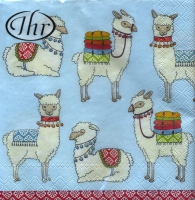Cocktail napkins Happy Lamas light blue