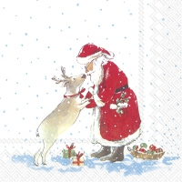 Serviettes de table 25x25 cm - SANTAS BEST FRIEND blanc